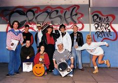 90s rave group pic-similar to what people wear now-specailly the lass-could probs get some street style pics. i can write some words about whu the clothes are like how they are-baggy for dancing etc. maybe summit about politics n thatcher n politcs now n why its all coming bak etc x