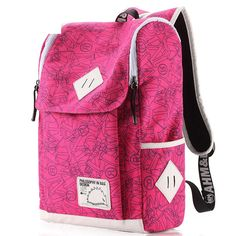 Korean Preppy Style Square Canvas Backpacks Panelled for Girls in Pink