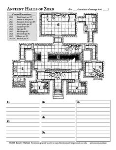 Map Ancient Halls of Zorn Dungeon Tiles, Dungeon Maps, Dungeons And Dragons Characters, D&d Dungeons And Dragons, D20 Modern, Fantasy World Map, Dungeons And Dragons Homebrew, Adventure Map, Printable Maps