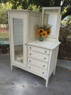 Antique Chifforobe crackled in Old White #shabbychicdresserswhite