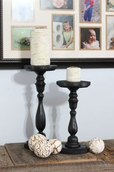 Pottery Barn Knock Off Candle Holders and Candles -- a super simple way to make your own extra tall candle holders from cheap craft store wooden items.