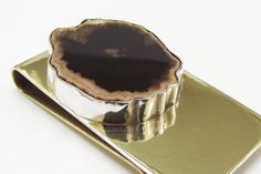 Brass Money Clip with Petrified Wood For by @AddictionToDetail, $59.00