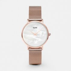 CLUSE Minuit La Perle Mesh Rose Gold/White Pearl CL30047 The simplicity of pared-back design. The radiance of mother of pearl. The cool allure of rose gold mesh. Smooth and sensual, romantic and dreamy. Reminding us that time is the greatest luxury.