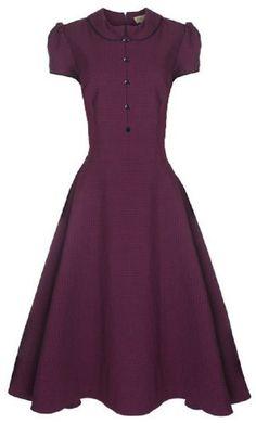 Lindy Bop `Rhonda` Vintage 1950`s Plum Polka Dot Peter Pan Collar Rockabilly Swing / Tea Dress $46.99