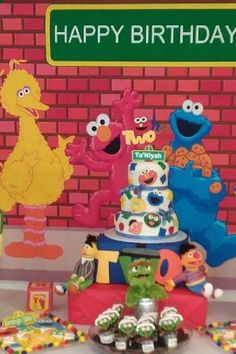 Take a look at this fun Sesame Street birthday party! What an awesome cake!! See more party ideas and share yours at CatchMyParty.com#catchmyparty #partyideas #sesamestreet  #cake#sesamestreetparty #boybirthdayparty Sesame Street Birthday Cakes, Sesame Street Party, Bridal Shower Cakes, Baby Shower Cakes, Boy Birthday Parties, 2nd Birthday, Elmo Cake, Cookie Monster Party, Dessert Table Decor