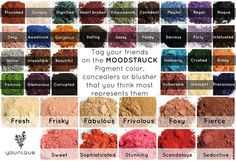 Younique Color Chart  Use this chart to pick your favorite colors!  Ask me for help.  www.lawlesslashes.com