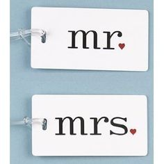 So cute!  Mr and Mrs Luggage Tags, $12.50
