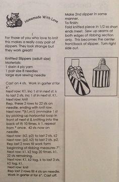 Just Sharing ( knitting) called pocket or slingback slippers Felted Slippers Pattern, Crochet Shoes Pattern, Knitted Slippers, Crochet Slippers, Knitted Hats, Loom Knitting, Knitting Stitches, Knitting Socks, Free Knitting
