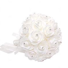 Satin Foam Rose Flower Wedding Bouquet with Rhinestone(28*21*21cm) 2016 - $14.99