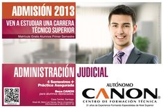 Proceso de Admisión 2013.  Más información en admision@cftcanon.cl  www.cftcanon.cl