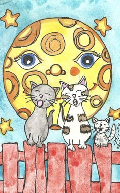 Cats on the fence ACEO Artwork Print Cat Artwork Singing Cats Artwork Print ACEO Cat Artwork Watercolor Illustration Moon Cats Artwork by Niina Niskanen illustration obtain Watercolor Illustration, Watercolor Art, Trading Card Sleeves, Artist Card, Cat Art Print, Fence Art, Yellow Art, Artwork Prints, Fantasy Art