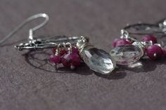 Quartz & Ruby Earrings, Asymmetrical Lotus Flower Earrings Sterling Silver Open Form Earrings Ruby and Quartz Drop Earrings July Birthstone by BaileyBespoke on Etsy