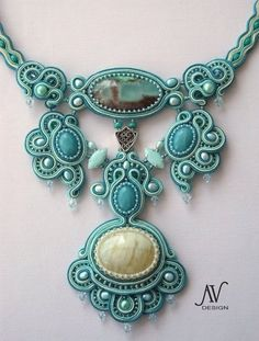 Blue Aqua Cream Soutache beaded necklace Flight of by MiriamShimon, via Etsy. Description from pinterest.com. I searched for this on bing.com/images