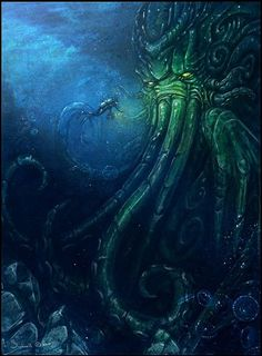 Cthulhu this is why I am afraid of the ocean Hp Lovecraft, Lovecraft Cthulhu, Arte Horror, Horror Art, 3d Fantasy, Dark Fantasy, Kraken, Lovecraftian Horror, Arte Obscura