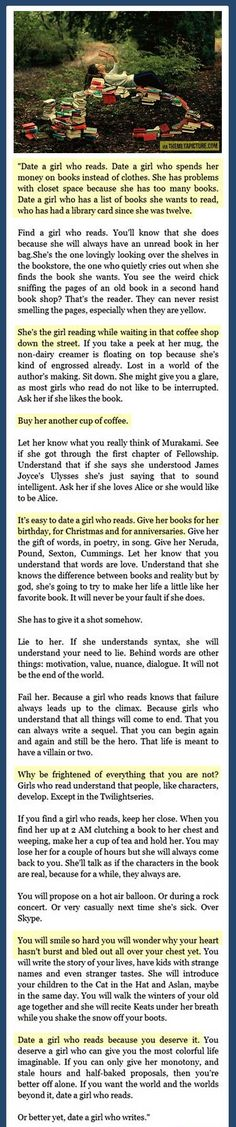 "Love.  ""If you want the world and the worlds beyond it, date a girl who reads."""