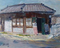"Daily Paintworks - ""A Good Place For Breakfast, Osaka"" - Original Fine Art for Sale - © Judith Elder"