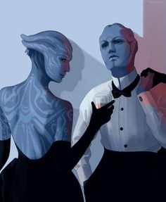 nihilnovisubsole:    aria and tevos a la an exercise in noveltyand contradictions in terms  [we're going mood indigo this femslash february]    moar asari in suits plz