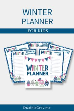 Keep your family organized by planning your family's winter activities. This colorful planner for kids and the whole family to use to plan your winter vacation. Buy Now! #winterplanner Kids Planner, Weekly Planner, Family Organizer, Winter Activities, Me Time, Journal Pages, Marketing And Advertising, Seo, Blogging