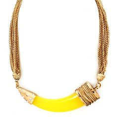 Mongolia Horn Necklace - Yellow