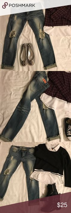 Blue denim distress jeans. Awesome low rise waist. Trendy blue distress skinny stretch denim jeans. Low rise waist, size 11 juniors. Goes fabulous with sneakers , dress it up with flats or just some awesome boots for fall. Pants Skinny