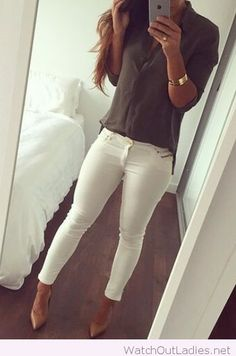 White pants, olive shirt and nude high heels