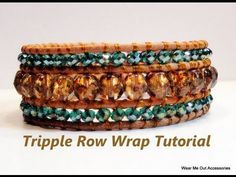 DIY-Triple Row Leather Wrap Bracelet- Part Part 2 now available to view! Leather cord Beading thread to beads (your choise) Button Thread conditioner (optional) Bead stringing glue Purchase Part 2 at . Wrap Bracelet Tutorial, Bracelet Wrap, Beaded Wrap Bracelets, Beaded Jewelry, Jewelry Bracelets, Bohemian Bracelets, Crochet Bracelet, Skull Jewelry, Pandora Bracelets