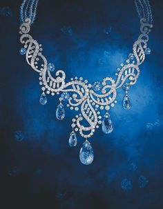 Cartier antique jewelry series sapphire and diamond necklace