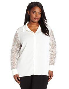 Calvin Klein Women's Plus-Size Lace Sleeve Top