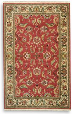 This casually elegant scrolling vine and blossom design is punctuated with oversize palmettes and serrated leaves typical of both Agra and Lahore carpets woven during the mid 17th Century Mogul Dynasty. Red was a favored ground color for these...