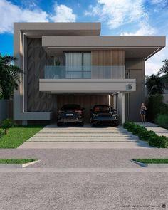 Modern Villa Design, Modern Exterior House Designs, Modern Farmhouse Exterior, Dream House Exterior, Exterior House Colors, Exterior Design, Large Homes Exterior, Double Storey House, House Gate Design