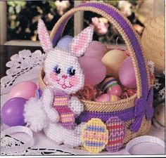 Purple Bunny Basket Pattern Plastic Canvas Email Only