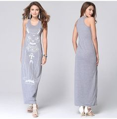 Cat Printed Grey Long Vest Dress