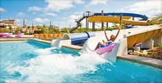 Beaches Turks & Caicos 2700 Sq. Ft. Waterpark: - Huge waterslides  - Surf simulator  - Waterfall pool  - Lazy river  - Ice-cream machine  - Splash deck  - Zero-entry pool  - Special pool for tots  - Kids-only swim-up bar  - Whirlpool  - Rainforest gameroom  - 50's style diner  - Water cannons  - Pop-up jets  - Cranks and spray  - Large sitting deck