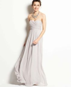 dream bridesmaid dress from Ann Taylor - silk goergette shirred strapless gown in Fancy Nickel