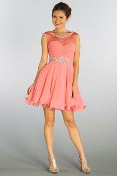 Chiffon Cap Sleeves Short/Mini Zipper Bateau Short Prom Dresses ...
