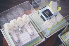 lime green & baby blue acrylic wedding gift trays.