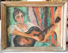 1940's Oil Painting - The Guitar Player