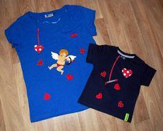 Cupido y corazones. Camisetas de fieltro y telas.