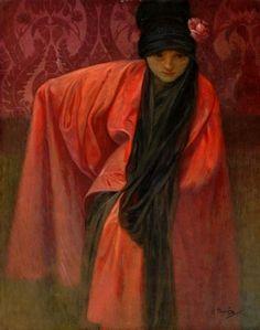 Girl in Red, by Alphonse Mucha