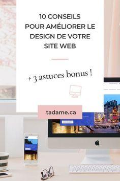 10 conseils pour améliorer le design de votre site web afin de le rendre plus beau, plus professionnel et surtout plus attractif. Apprenez à choisir les bonnes typographies, les bonnes couleurs et comment bien structurer votre site web. Découvrez en plus 3 astuces bonus ainsi que les outils indispensables à utiliser pour améliorer le design graphique de votre site internet. Wordpress Template, Site Web Design, Creation Site, Creer Un Site Web, Page Web, Design Graphique, Web Development, Ecommerce, Branding