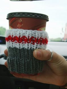 Work Sock Coffee Cozy Handknit Cup Cosy TakeOut by ennadoolf, $9.00