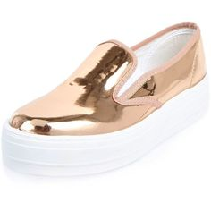 River Island Metallic rose gold platform plimsolls ($56) ❤ liked on Polyvore featuring shoes, sneakers, slip on sneakers, slip-on sneakers, canvas slip on sneakers, platform sneakers and white slip on sneakers