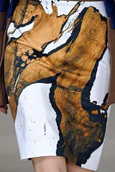 Paint Prints - warm gold, black & white skirt; arty paint splashes, abstract printed pattern fashion // Preen