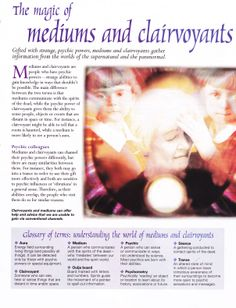 Divination: The Magic of #Mediums and #Clairvoyants. www.thepsychicline.com 1-800-966-2294