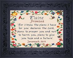 Genevieve - Name Blessings Personalized Cross Stitch Design from Joyful Expressions Cross Stitch Designs, Cross Stitch Patterns, Christ Quotes, Life Quotes, Favorite Bible Verses, Names With Meaning, Meaningful Gifts, Gifts For Family, Custom Framing