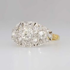 Art Deco 1.34ct t.w. Old European Cut Diamond Filigree Two Tone Engagement Ring 18k | Antique & Estate Jewelry | Jewelry Finds