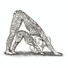 7 x Giclee Print - Mother and Baby Yoga Illustration - Adho Mukha Svanasana Pose - Mandala inspired patterns The third in a series of three Mother and Baby Yoga Illustrations. Inspired by my personal love of Mandala Pattern, Mandala Art, Yoga Kunst, Yoga Drawing, Yoga Illustration, Yoga Tattoos, Baby Yoga, Chair Yoga, Mother And Baby