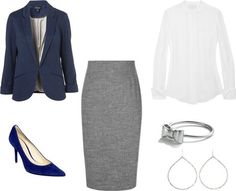 Interview Outfit: Cobalt+Gray by VintageDanielle  What?  I have all these pieces in my closet!?  IT's a miracle!