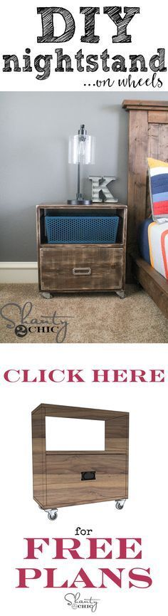 Easy DIY Nightstand built with only 1x12 boards! Click the image for free plans!