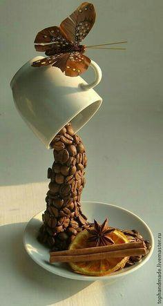 Buy summer morning brown coffee coffee mocha coffee topiary Kaffeeta – Famous Last Words Coffee Bean Art, Coffee Beans, Home Crafts, Fun Crafts, Diy And Crafts, Floating Tea Cup, Tea Cup Art, Mocha Coffee, Brown Coffee